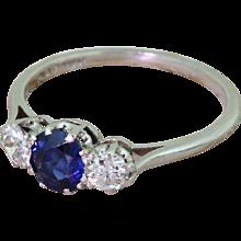 Art Deco Sapphire & Old Cut Diamond Trilogy Ring, circa 1930