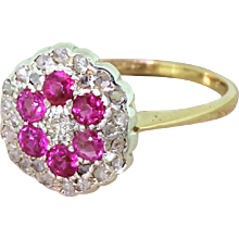 Mid Century Ruby & Diamond Cluster Ring, circa 1965