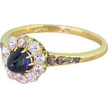 Victorian Sugarloaf Sapphire & Old Cut Diamond Cluster Ring, circa 1900