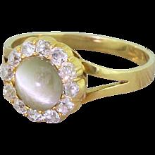 Victorian Cat's Eye & Old Cut Diamond Cluster Ring, circa 1900