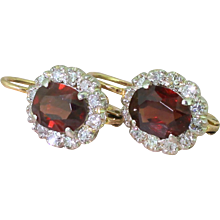 Art Deco 2.20 Carat Natural Unheated Ruby & Diamond Cluster Earrings, circa 1935