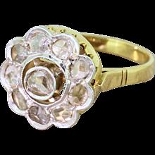 Art Deco 0.50 Carat Rose Cut Diamond Target Cluster Ring, circa 1920