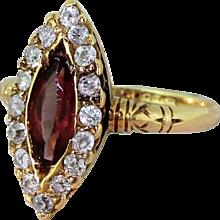 Victorian 1.25 Carat Purple Tourmaline & Old Cut Diamond Navette Cluster Ring, circa 1890