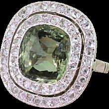 Retro 4.70 Carat Natural Green Sapphire & Rose Cut Diamond Ring, circa 1950