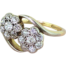 Mid Century 0.80 Carat Old Cut Diamond Double Cluster Crossover Ring, circa 1960