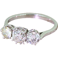 Art Deco 1.48 Carat Cushion & Round Old Cut Diamond Trilogy Ring, circa 1945