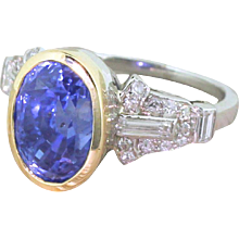 Art Deco 7.29 Carat Natural Ceylon Sapphire & Diamond Ring, circa 1935