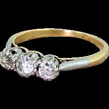 Art Deco 0.85 Carat Old Cut Diamond Trilogy Ring, circa 1925