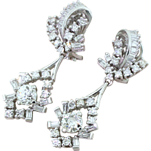 Retro 2.34 Carat Old Cut & Baguette Cut Diamond Drop Earrings, circa 1950