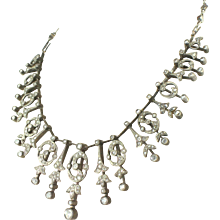 Victorian 3.50 Carat Rose Cut Diamond & Ruby Necklace, circa 1850