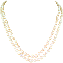 Mid Century Cultured Pearl Double Stand Necklace, circa 1960