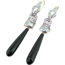 Art Deco Diamond & Onyx Drop Earrings, circa 1940
