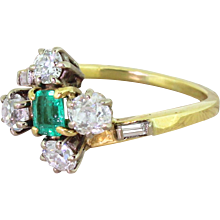 Late 20th Century Emerald & Four Diamonds Cluster Ring, circa 1970