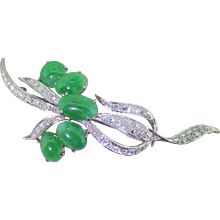 Mid Century Cabochon Jade & Eight Cut Diamond Brooch, circa 1955