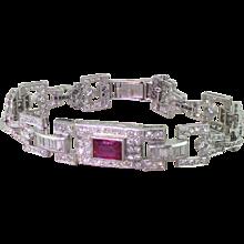 Art Deco 10.00 Carat Diamond & 2.00 Carat Ruby Bracelet, circa 1940