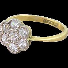 Edwardian 1.00 Carat Old Cut Diamond Daisy Cluster Ring, circa 1910