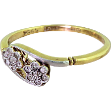 Edwardian Old Cut Diamond Double Daisy Cluster Ring, circa 1905