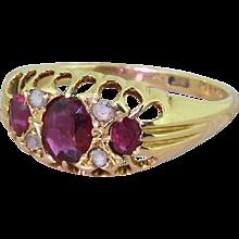 Victorian 1.00 Carat Ruby Trilogy & Diamond Ring, circa 1900