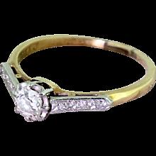 Art Deco 0.40 Carat Old Cut Diamond Engagement Ring, circa 1915