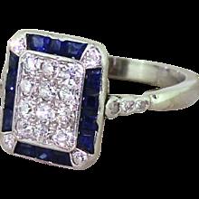 Retro Old Cut Diamond & Calibre Cut Sapphire Rectangle Cluster Ring, circa 1945