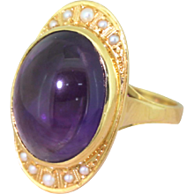 Mid Century 8.00 Carat Cabochon Amethyst Ring, French, circa 1960