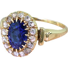 Art Deco 1.88 Carat Natural Sapphire & Rose Cut Diamond Cluster Ring, circa 1915