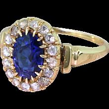Art Deco 1.88 Carat Natural Sapphire & Rose Cut Diamond Cluster Ring, circa 1915