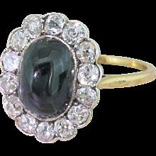 Edwardian 4.00 Carat Cabochon Sapphire & Old Cut Diamond Ring, circa 1905
