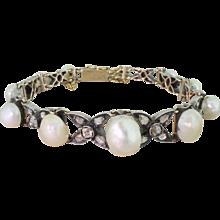Early Victorian Natural Pearl, Rose Cut & Old Cut Diamond Bracelet, circa 1850