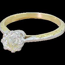Mid Century 1.01 Carat Old Cut Diamond Engagement Ring, circa 1965