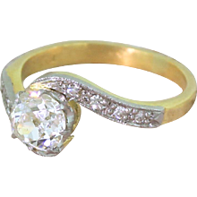 Art Deco 0.80 Carat Old Cut Diamond Crossover Engagement Ring, circa 1930