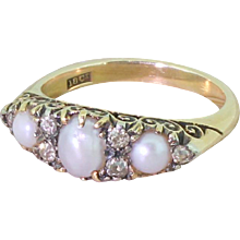 Art Deco Natural Pearl & Old Cut Diamond Half Hoop Ring, circa 1920