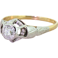 Retro 0.30 Carat Old Cut Diamond Engagement Ring, circa 1945