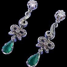 "Victorian 2.20 Colombian Emerald & Diamond ""Bow"" Drop Earrings, circa 1870"