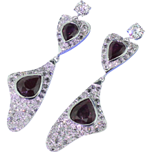 Retro 4.00 Carat Ruby & 4.00 Carat Old Cut Diamond Drop Earrings, circa 1945