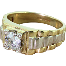 "Late 20th Century 0.61 Carat Old Cut Diamond ""Rolex"" Ring, dated 1989"