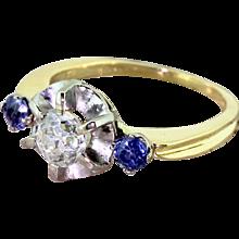 Mid Century 0.88 Carat Old Cut Diamond & Sapphire Three Stone Ring, circa 1955