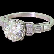 Art Deco 2.49 Carat Old Cut & Baguette Cut Diamond Engagement Ring, circa 1925