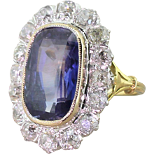 Edwardian 6.90 Carat Natural Ceylon Sapphire & Old Cut Diamond Ring, circa 1910
