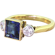 BOODLES Step Cut Sapphire & Old Cut Diamond Trilogy Ring, 18k Yellow Gold