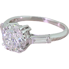 Art Deco 1.52 Carat Old European Cut Diamond Engagement Ring, French, circa 1940