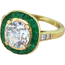 Mid Century 1.91 Carat Old Cut Diamond & Emerald Halo Ring, French, circa 1950