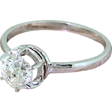 Art Deco 0.78 Carat Old Cut Diamond Engagement Ring, circa 1920