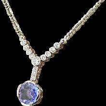 Art Deco 3.15 Carat Sapphire & Old Cut Diamond Necklace, circa 1915