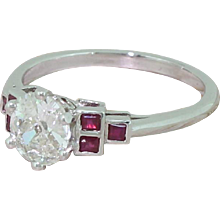 0.80 Carat Old Cut Diamond & Square Cut Ruby Ring, Platinum