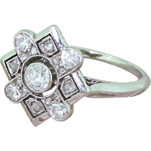 Art Deco 0.50 Carat Transitional Cut Diamond Cluster Ring, circa 1945