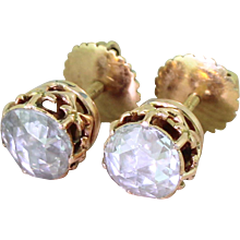 Victorian 1.80 Carat Rose Cut Diamond Stud Earrings, circa 1870
