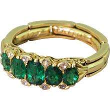 1.00 Carat Emerald Half Hoop Ring, with Flexible Shank, 18k Gold