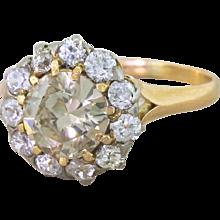 Edwardian 1.94 Carat Light Cognac Old Cut Diamond Cluster Ring, circa 1910
