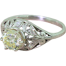 Edwardian 1.25 Light Yellow Old Cut Diamond Engagement Ring, circa 1910